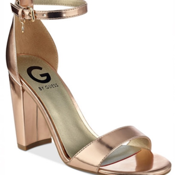 704e65ac8331 Guess Shoes - G by Guess Rose Gold Ankle Strap Block Heel Shoes
